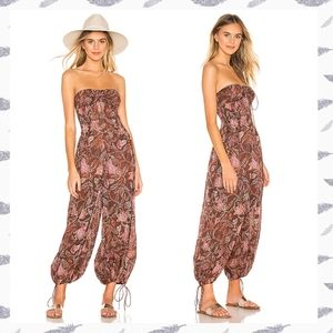 Free People Iris Patterned Jumpsuit in Chocolate